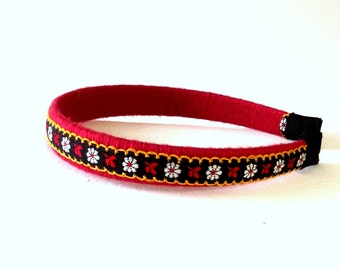 Embroidered Fabric Headband - Boho Flower Hair Accessory - Red & Black Hair Band