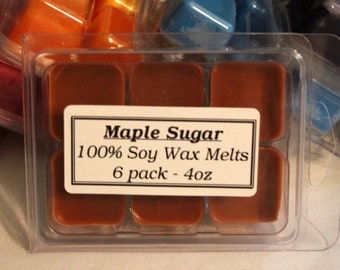 Maple Sugar Tart Melts - 6 pack of break away tarts - 100% Soy Wax - 4oz in wax
