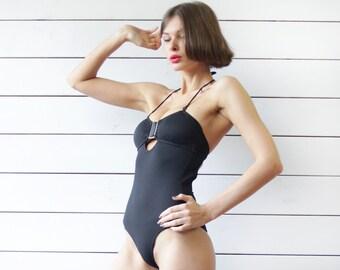 Vintage black low open back halter neck padded bust keyhole one piece swimsuit XS