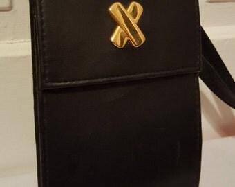 X MARKS THE SPOT // Biker Chic Wallet Black Crossbody Purse Clutch Travel Vacation Carry All Slim
