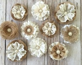 10 handmade burlap and lace rustic flowers
