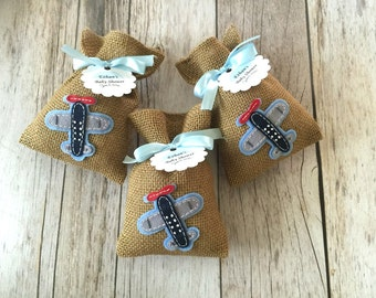 10 baby shower airplane burlap favor bags