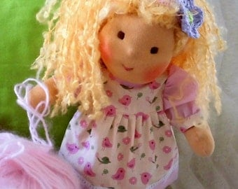 About 178 inch handmade Waldorf Doll  ready to go cloth doll waldorf doll human figure doll ready to go