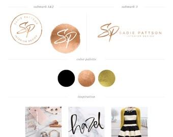 Calligraphy Logo design - Rose Gold Foil Logo Design - PreDesigned Custom Logo - handwritten Initials Logo - branding set - marble