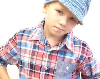 Boy Newsboy Hat, Reversible Boy Hat, Boy Newsboy Cap, Toddler Cap, Toddler Boys Cap, Newsboy Cap, Gift for Boy, Chemo Boys Hat, Boy Hairloss