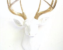 White-Gold Faux Taxidermy Deer Head Animal Head Wall Mount hanging Home Decor: white w/ gold antlers nursery decor / stag