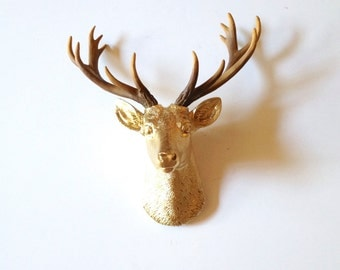 GOLD- Natural SMALL Faux Taxidermy Deer Head wall mount wall hanging / stag / woodland decor / wildlife / nursery decor / office / kids room