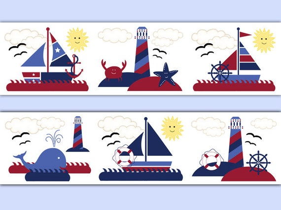 NAUTICAL SAILBOAT NURSERY Wallpaper Border Boy Wall Decal - Boat decals adelaide   easy removal