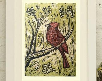 Cardinal, an original woodcut print