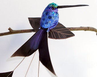 Hummingbird Fascinator, faux taxidermy, birdie hair slide, bird- clip-on ornament