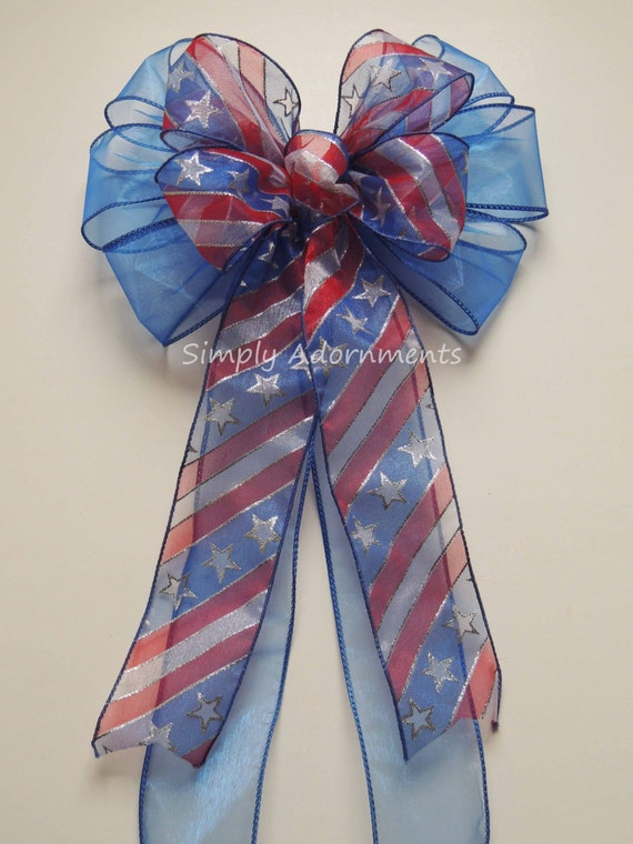Red White and Blue Patriotic Bow Stars and Stripes Bow Patriotic Wedding Aisle decor Bow July 4th Wreath Bow Election Day Party Decorations