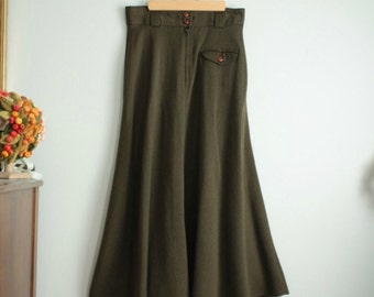 Vintage Midi Skirt in Olive Green / 80s Green Skirt