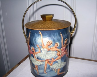 Biscuit Tin from Murray-Allen Montreal Canada, Ballerina Biscuit Tin Made In England - New Rochelle, NY Murray-Allen Imported Tin