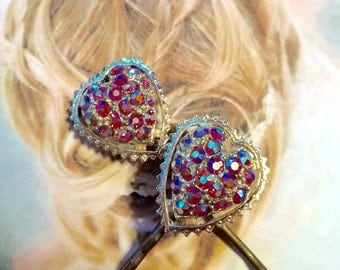 SALEWindyDays Decorative Hair Pins Jewelry Bridal Red Heart Aurora Borealis AB Hairpins Bobby Pins