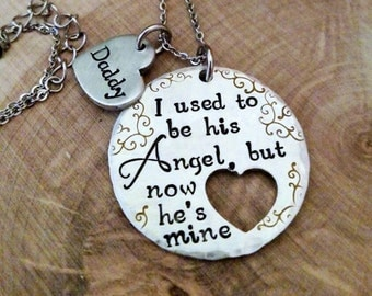 Dad memorial necklace, dad angel necklace, dad loss necklace, parent loss necklace, memorial keepsake jewelry, sympathy gift for child