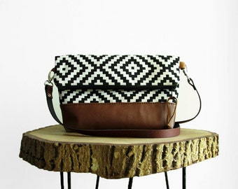Tribal print crossbody Bag, Geometry, Black and White, Clutch purse, Geometric pattern, Crossbody purse, Handbag, Day bag