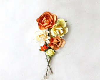 Paper Flower Hair Pins Set of 6. Yellow Flower Hair Clips. Sunset Bobby Pins in Rustic Orange & Buttercream. Indie Wedding Hair Accessories.