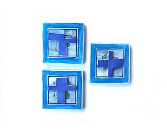 Modern Blue Ceramic (set of 3 ), Ceramic  wall art, Ceramic art objects,  Original ceramic, Abstract Geometric ceramic.
