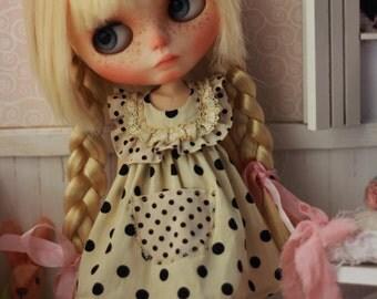 REMAKE - Limited Polka Dots Vintage Dress for Blythe Doll