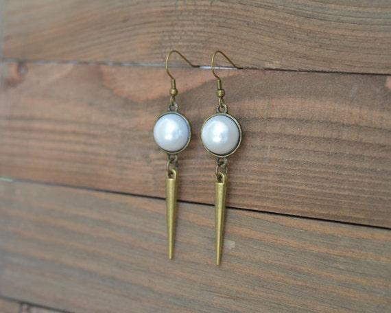 Pearl Spike Earrings - Long Spike Earrings - Antique Gold Dangle Earrings - Edgy Earrings - Pearl Dangle Earrings - Gold and Pearl Earrings