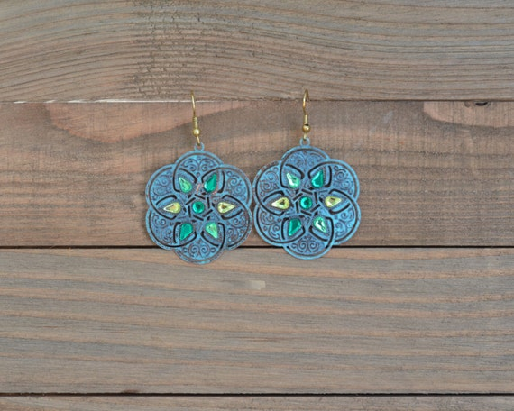 Green and Gold Filigree Earrings - Large Green Disk Earrings - Green Statement Earrings - Geometric Earrings - Round Earrings