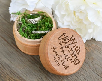 With This Ring Engraved Wedding Ring Box - Rustic Wedding Ring Box