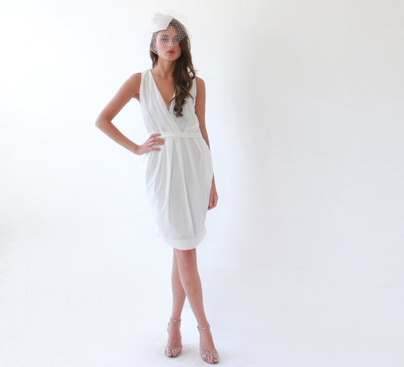 Cocktail white dress with pockets, Bridal cocktail dress