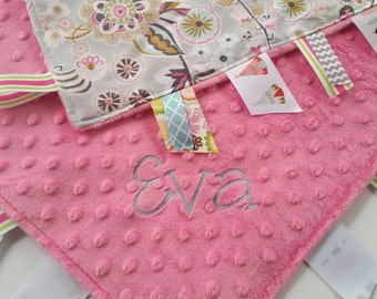 Baby Tag Blanket Minky Dot Tag Blanket in Deco Park Floral on Gray with Pink Minky with Name // Baby Tag Blanket // Minky Tag Blanket /