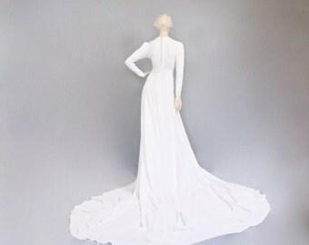 Art deco wedding dress etsy original 1930s art deco embroidered applique crepe de chine silk bridal wedding dress with extra long junglespirit Gallery