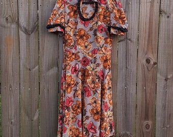 M L Medium Large Vintage 70s Floral Print Princess Short Sleeve Gothic Alternative Festival Boho Hippie Indie Sexy Keyhole Dress
