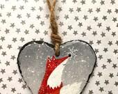 Snowflake Fox - Slate Heart Hanger - Slate Ornament - Hand Painted - Christmas decoration