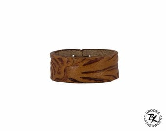 Embossed Leather Ring, Woman's Ring, Men's Ring, Leather Ring, Custom Ring, Custom Leather Ring, 3/8 Inch Wide Leather Ring