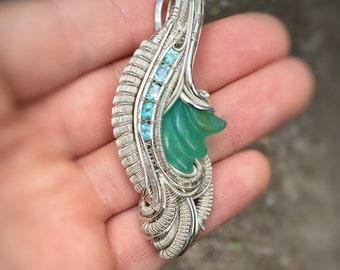 Peruvian Blue Opal // Teal Apatite // Wire Wrapped Pendant // Elegant Pendant // Flow // Merrick Noyes // Inner Orbit Wrap