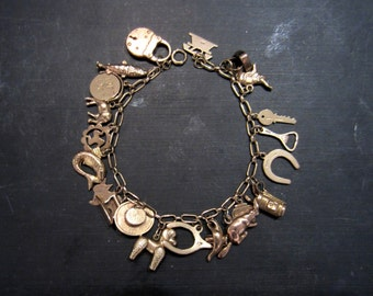 Vintage Charm Bracelet, Mid-Century Rose Gold Charm Bracelet 9k/18k, British c. 1950