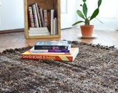 Bohemian Raw wool rug, Wild Navajo rug, Rustic home decor, Undyed Black sheep wool throw handwoven