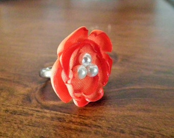 ORANGE satin flower ring, with three faux pearls - size 6.5+ adjustable ring, bridesmaid jewelry, autumn jewelry, ready to ship