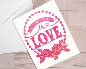 Valentines Card - All You Need is Love -  Folded Greeting Card - Papercut Illustration - Love, Anniversary