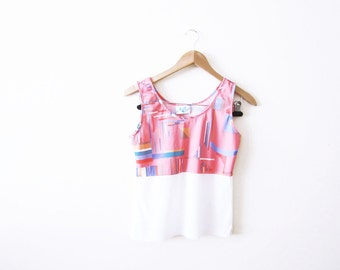 Abstract Print Top / Vintage Tank Top / Memphis / Pink Geometric 80s Sleeveless Shirt