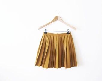 Pleated Mini Skirt / Mustard Yellow Cheer Skirt / Tennis Skirt / 60s Clothing XS
