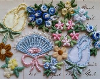 Beautiful Vintage Blue Floral Appliques | Flowers, Butterflies, Fans | Lot No.19