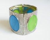 Panel Bracelet, Vintage Retro Groovy Metal Stretch Bracelet, Blue Green Oval Inserts Stained Glass Effect, Small Size Stretch Bracelet