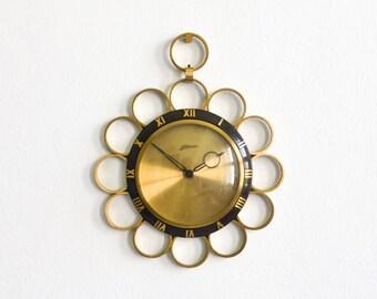 Solid brass clock, German Atlanta clock, Mid-Century Modern MCM