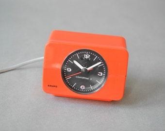 Vintage Krups alarm clock, Krups clock, Krups orange clock, space age, atomic age,
