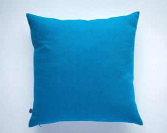 Decorative pillow cover capri blue - linen decorative pillows - shams - cushion case   0044