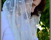 Catholic Chapel Veils EVM34 - Infinity Veil - Mantilla, in Embroidered Rosebuds on Soft Net