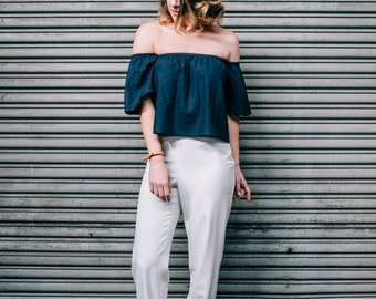 Navy Linen Ruffle Off-The-Shoulder Blouse