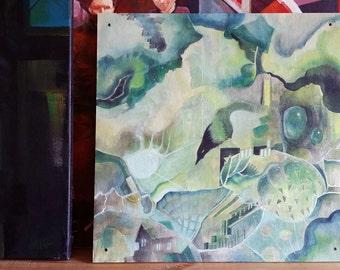 Contemporary art - wall art - wall hanging - bird art - magpie - scandinavian decor - home decor - art for nursery - fairytale art