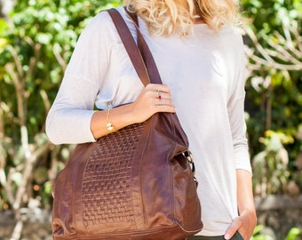 SANDSTORM. Brown leather tote bag / brown leather bag / brown leather purse / brown leather crossbody. Available in different leather colors