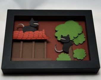Ninja Kitties - Papercraft Shadow Box