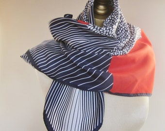 Norma Dori abstract scarf, red white and blue, Italian scarf, square scarves , vintage scarves, headscarf